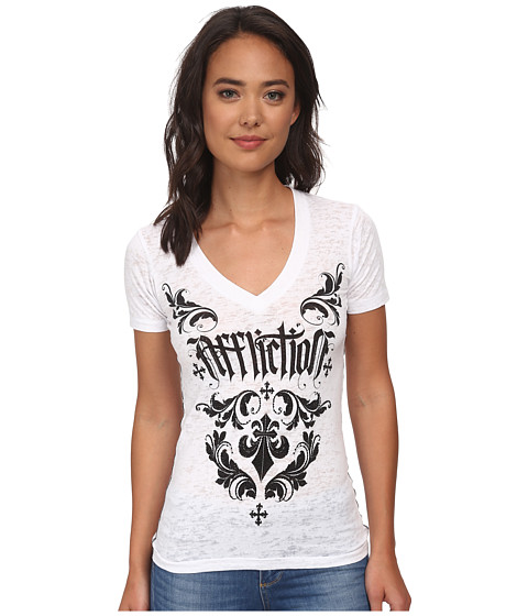 Affliction - Chantilly Short Sleeve V-Neck Tee (White Burnout) Women