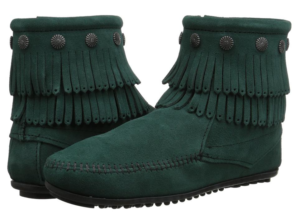 Minnetonka - Double Fringe Side Zip Boot (Pine Suede) Women