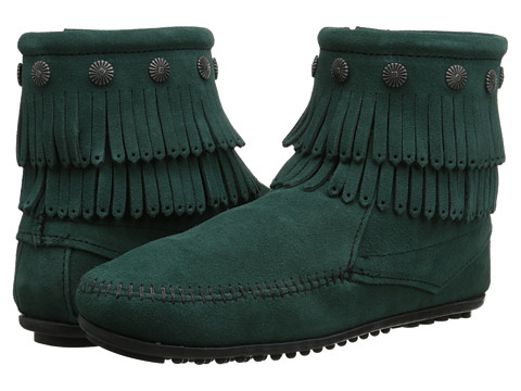 Minnetonka - Double Fringe Side Zip Boot (Pine Suede) Women