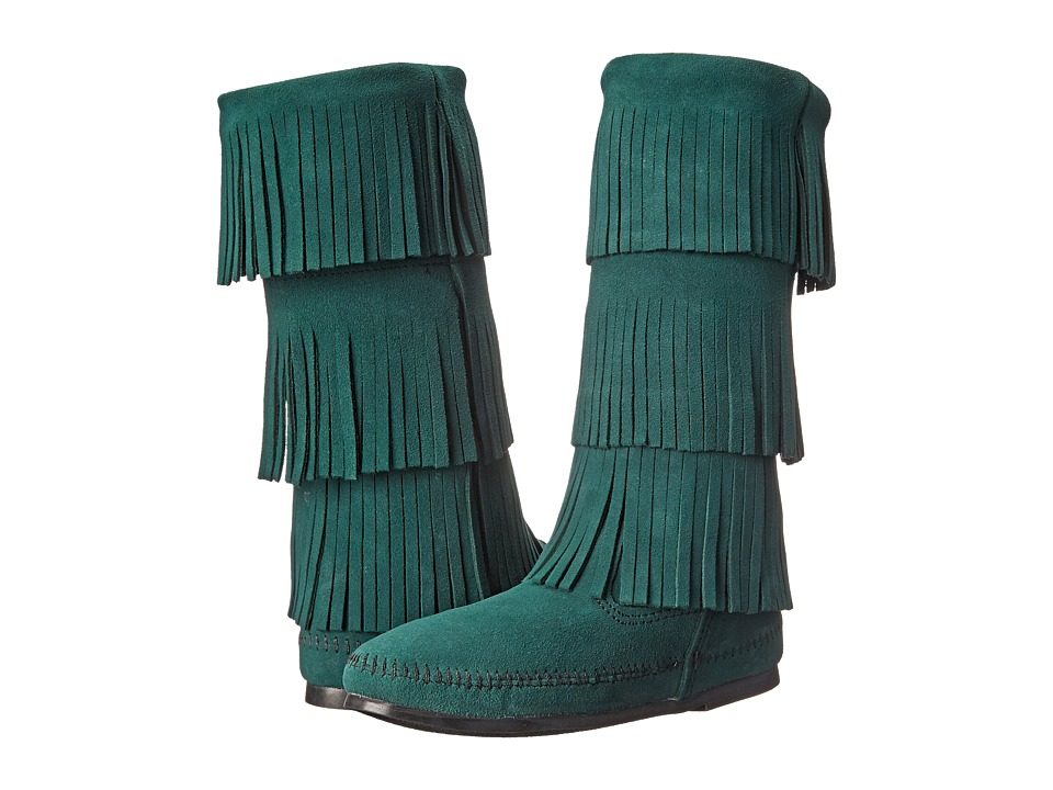 Minnetonka - Calf Hi 3-Layer Fringe Boot (Pine Suede) Women