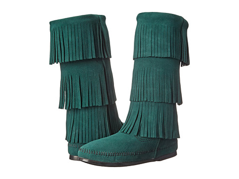 Minnetonka - Calf Hi 3-Layer Fringe Boot (Pine Suede) Women's Pull-on Boots