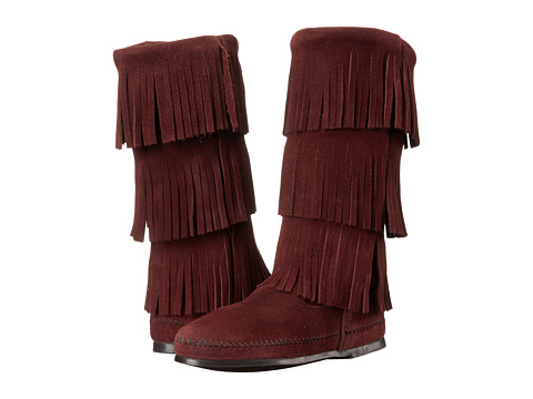 Minnetonka - Calf Hi 3-Layer Fringe Boot (Raisin Suede) Women's Pull-on Boots