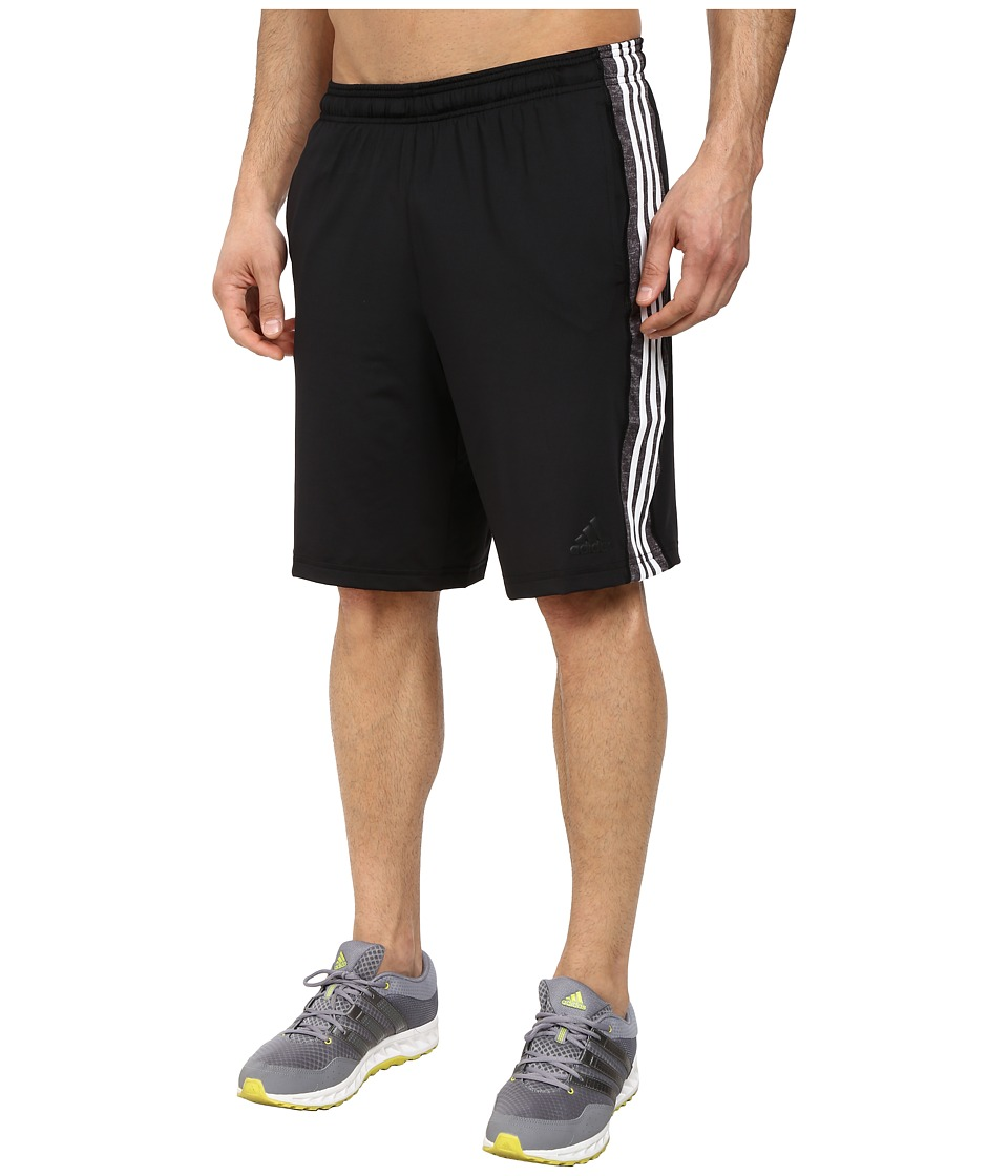 adidas - Team Issue 3 Stripes Shorts- Solid (Black/Black Heather/Cobalt Heather) Men's Shorts