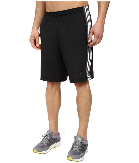 adidas - Team Issue 3 Stripes Shorts- Solid (Black/Black Heather/Cobalt Heather) Men