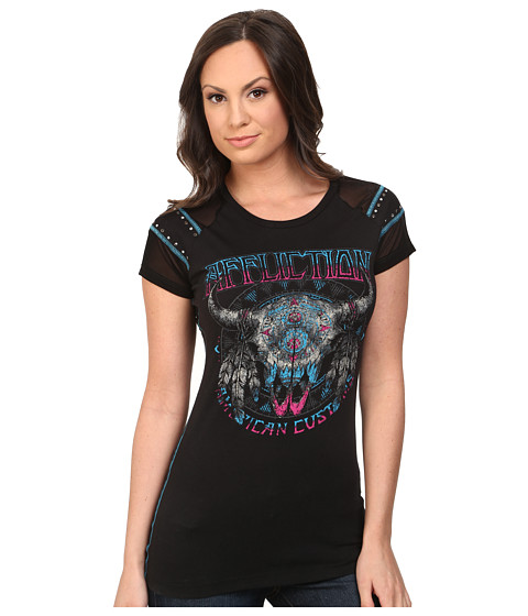 Affliction - Lakota Short Sleeve Fashion Raglan Tee (Black) Women