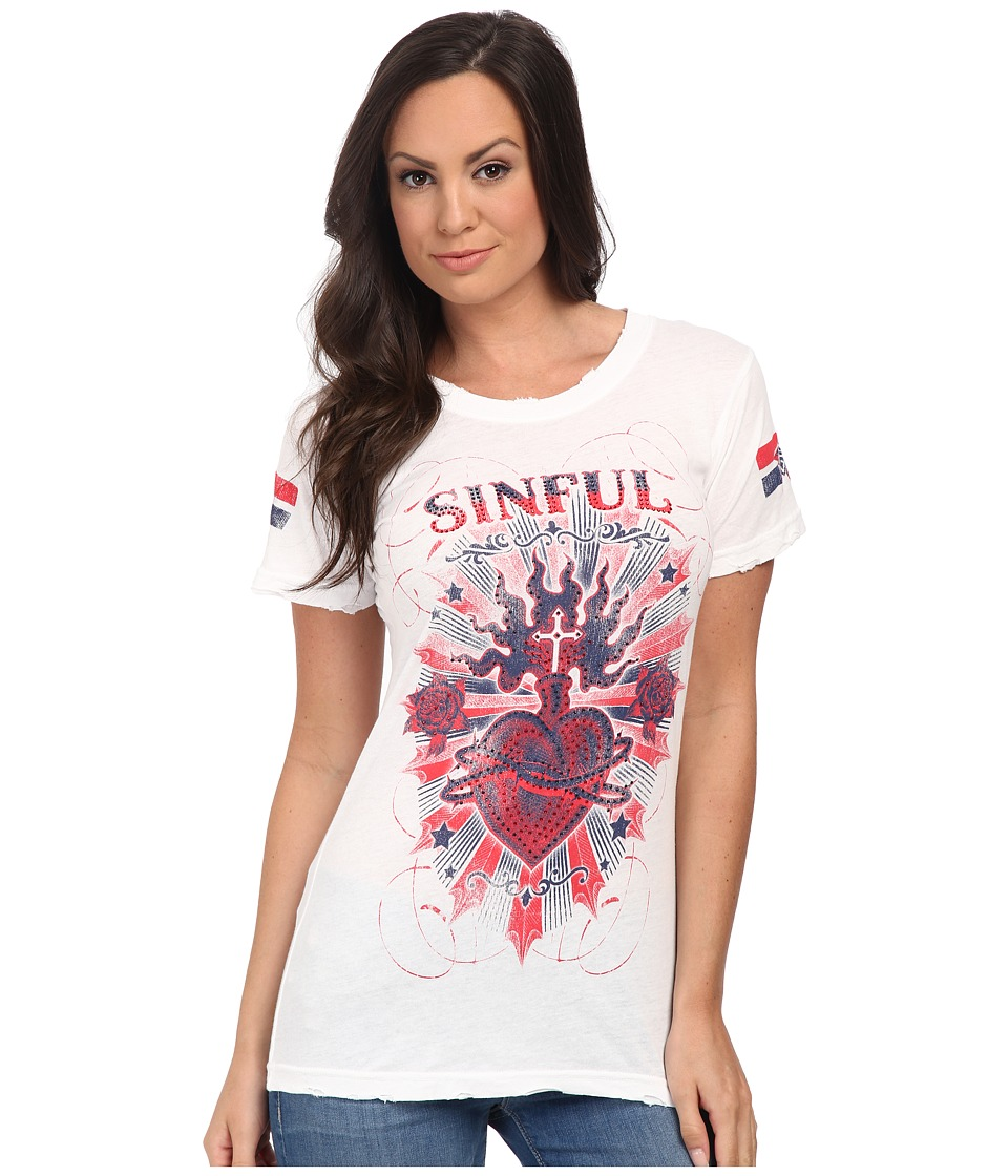 Affliction - Burning Heart Short Sleeve Tee (White) Women