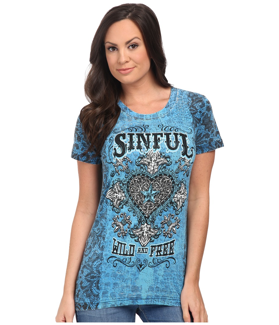 Affliction - Copper Canyon Short Sleeve Tee (Blue Aster Burnout Wash) Women