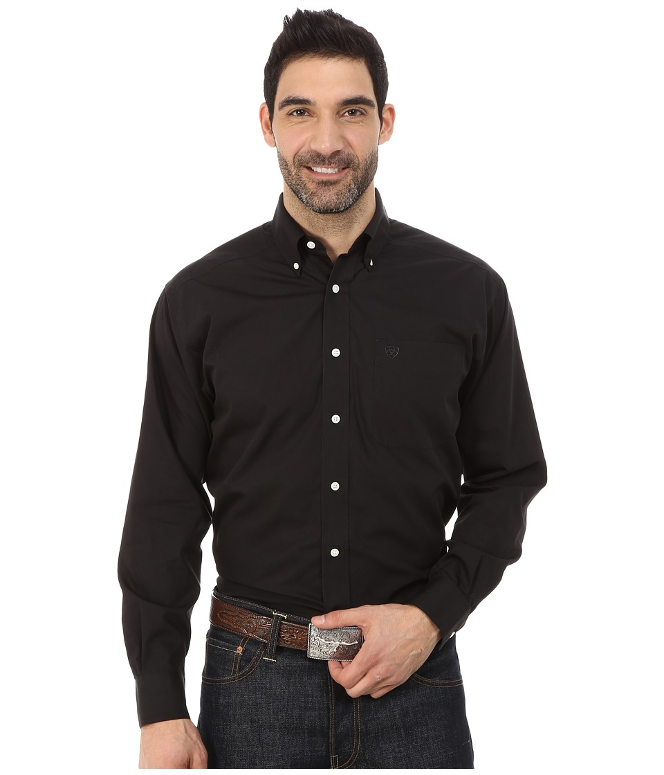 Ariat - Wrinkle Free Hoven Shirt (Black) Men's Clothing