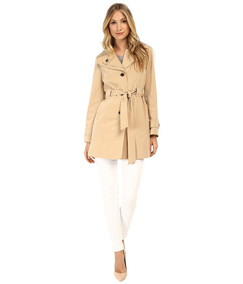 Calvin Klein - Faux Silk Single Breasted Belted Trench w/ Double Collar Detail (Khaki) Women's Coat