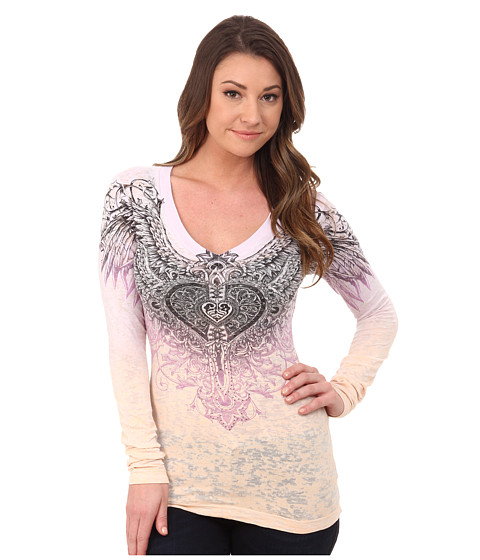 Affliction - Aviana Long Sleeve V-Neck Tee (Purple/Peach Burnout Dip Dye) Women's Long Sleeve Pullover