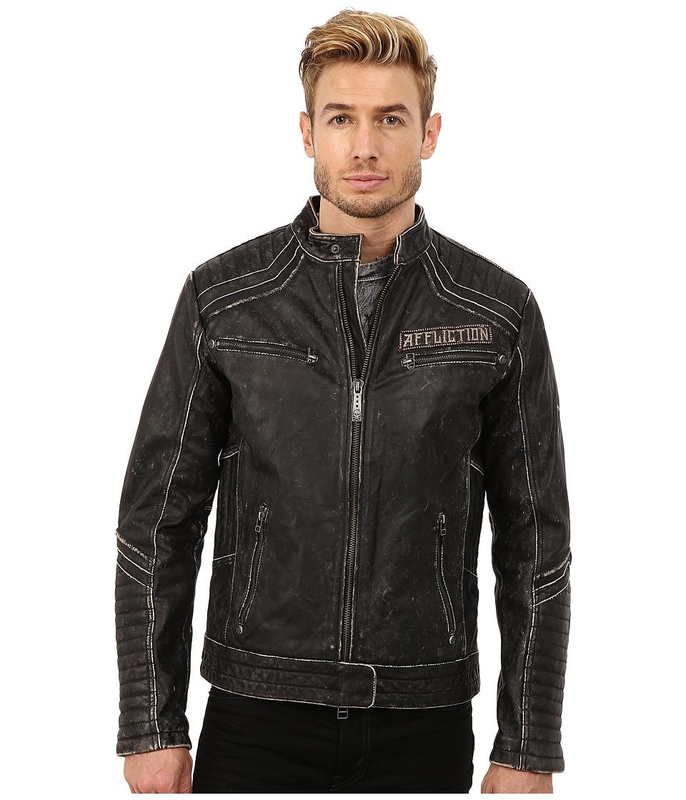 Affliction - Renegade Riders Leather Moto Jacket (Black Vintage Wash) Men's Coat plus size,  plus size fashion plus size appare