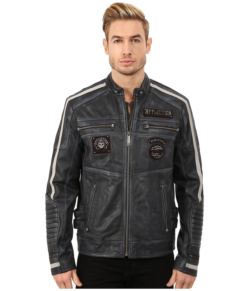 Image of Affliction - American Rebel Leather Moto Jacket (Pacific Blue) Men's Coat