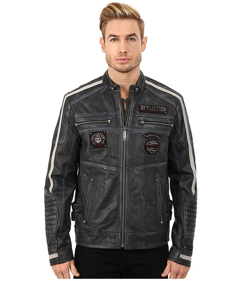 Affliction - American Rebel Leather Moto Jacket (Pacific Blue) Men's Coat