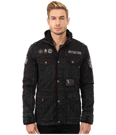 Affliction - Hysteria Herringbone Parka (Black Sand Wash) Men's Coat