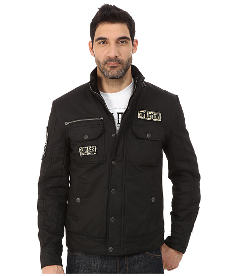 Affliction - Blaze Cotton Herringbone Jacket (Black Stone Wash) Men's Coat