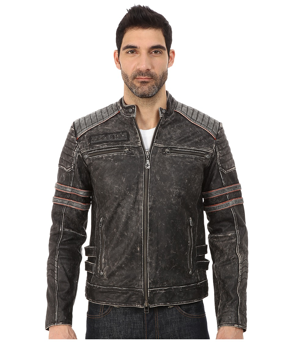Affliction - Fast Lane Leather Moto Jacket (Black Vintage Wash) Men's Coat plus size,  plus size fashion plus size appare