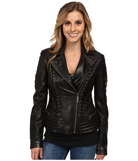 Affliction - Sinner Saint Lambskin Convertible Moto Jacket (Black) Women's Coat