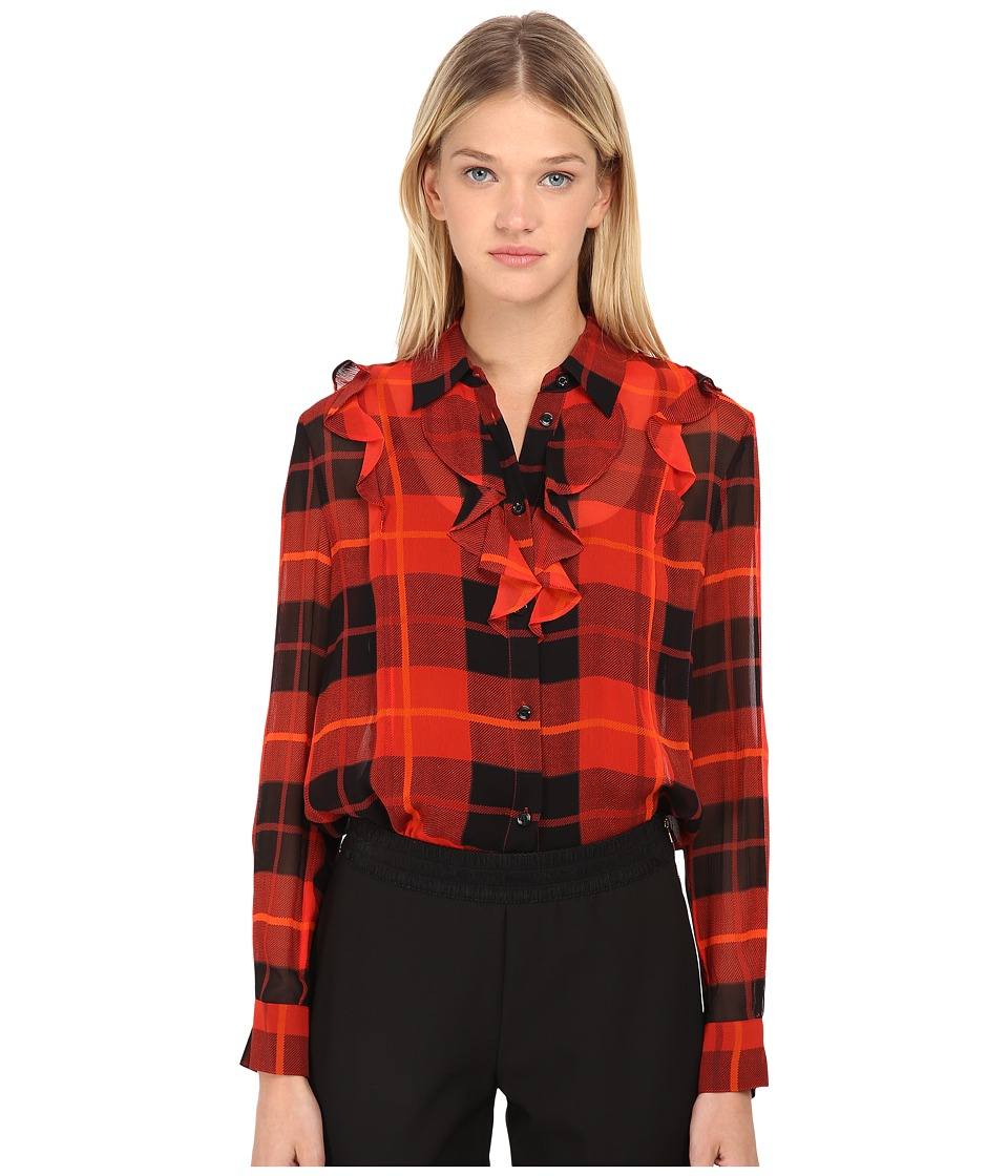 Kate Spade New York - Woodland Plaid Chiffon Blouse (Fairytale Red) Women's Blouse