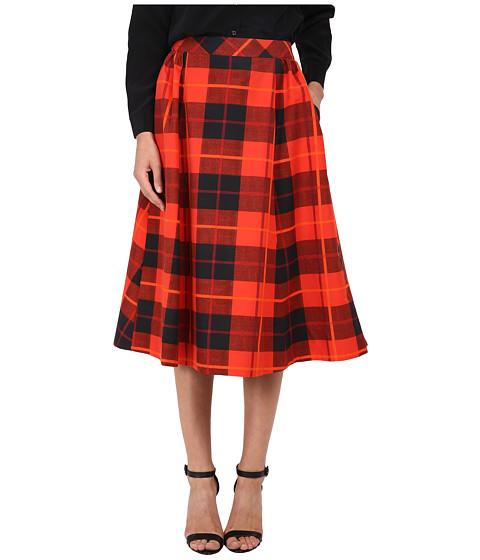 Kate Spade New York - Woodland Plaid Midi Skirt (Fairytale Red) Women