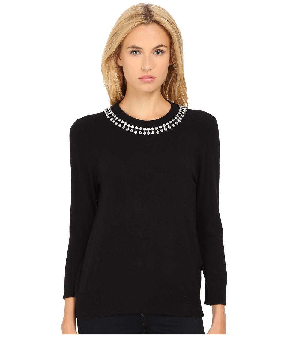 Kate Spade New York - Embellished Necklace Sweater (Black) Women's Sweater