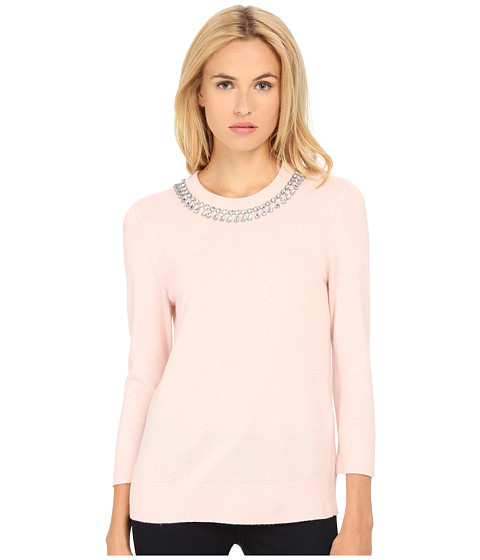 Kate Spade New York - Embellished Necklace Sweater (Pastry Pink) Women