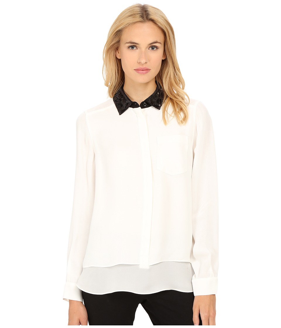 Kate Spade New York - Sequin Collar Shirttail Top (Cream) Women's Blouse