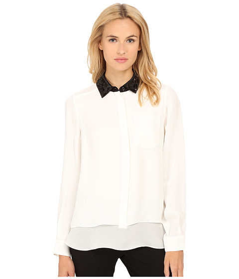 Kate Spade New York - Sequin Collar Shirttail Top (Cream) Women