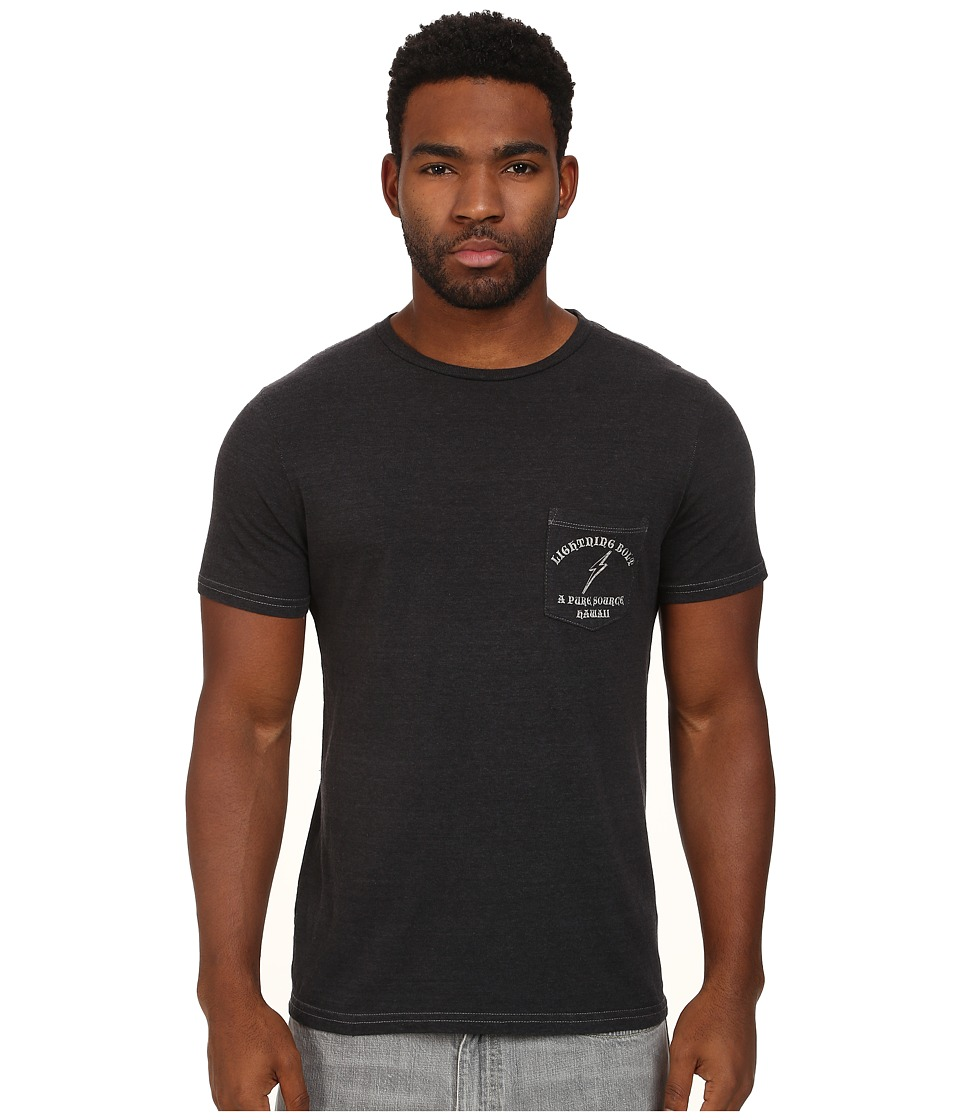 Lightning Bolt - Pure Souce Hawaii Triblend Overdyed Pocket Tee (Vintage Black) Men