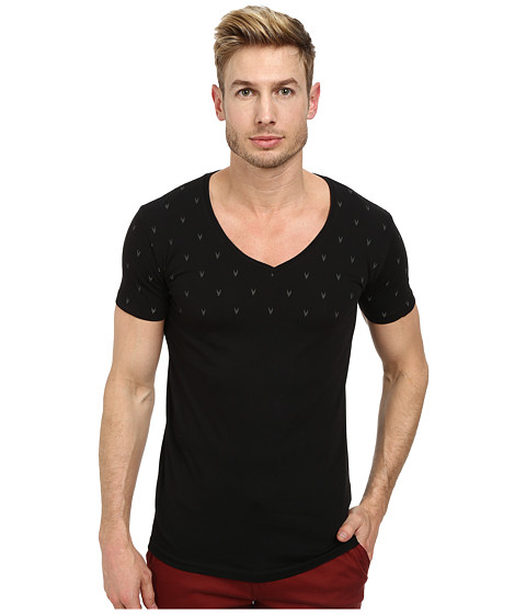 Lindbergh - Garment Dyed Tee with Print (Black) Men