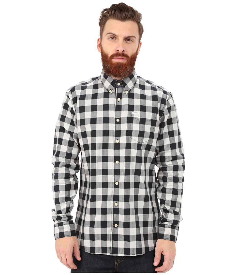Lindbergh - Check Shirt Long Sleeve (Black) Men's Clothing
