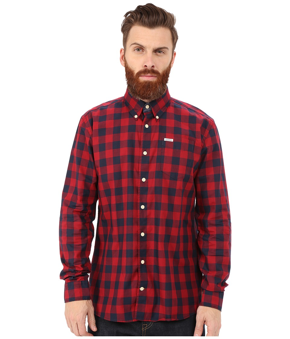 Lindbergh - Check Shirt Long Sleeve (Red) Men's Clothing