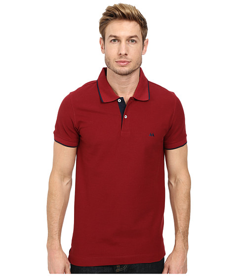 Lindbergh - Contrast Button Polo Piqu Short Sleeve (French Red/Navy) Men's Short Sleeve Pullover