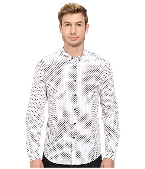 Lindbergh - Printed Shirt Long Sleeve (White) Men's Clothing