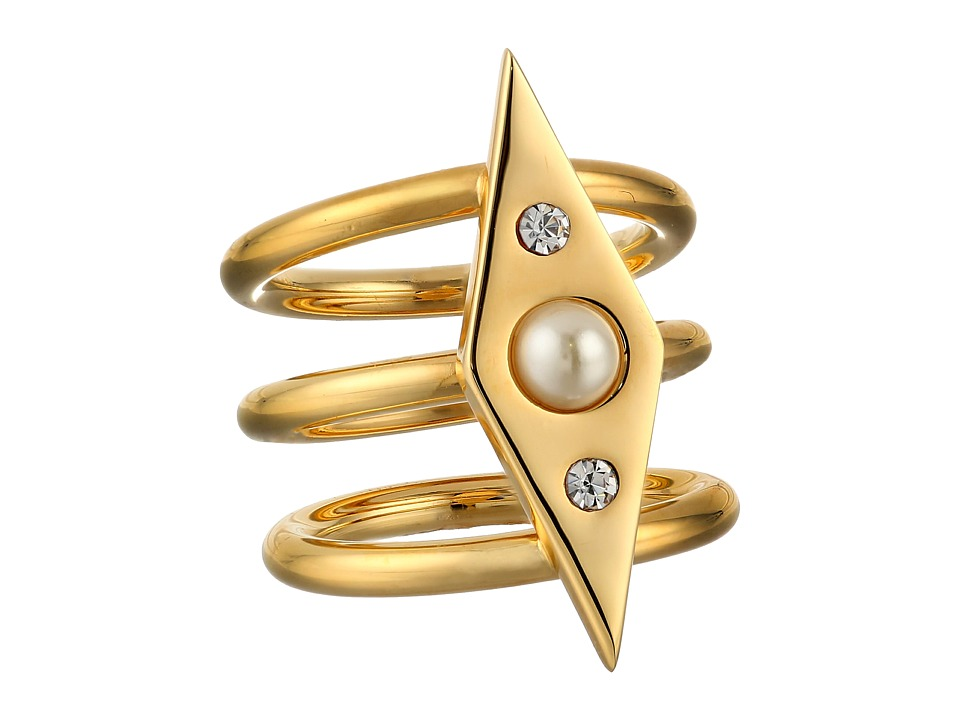 Rebecca Minkoff - Three Row Band Ring (Gold Toned/Pearl) Ring