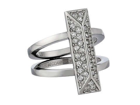 Rebecca Minkoff - Pave Rectangle Ring (Imitation Rhodium/Crystal) Ring
