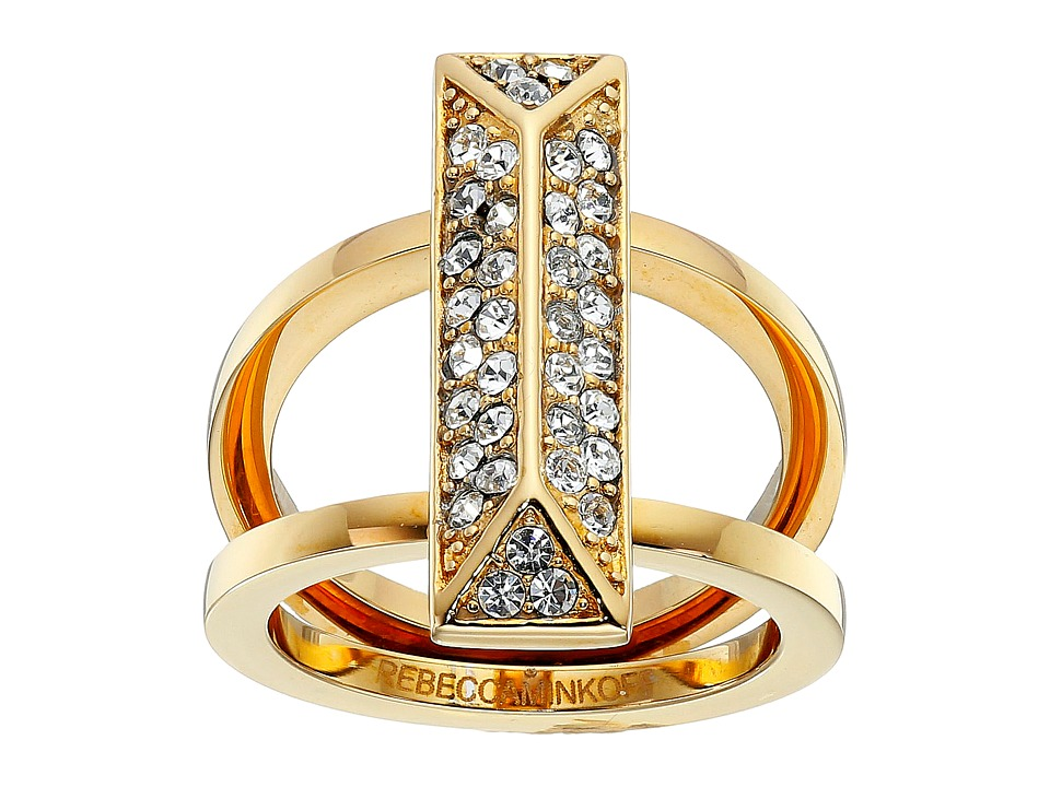 Rebecca Minkoff - Pave Rectangle Ring (Gold Toned/Crystal) Ring