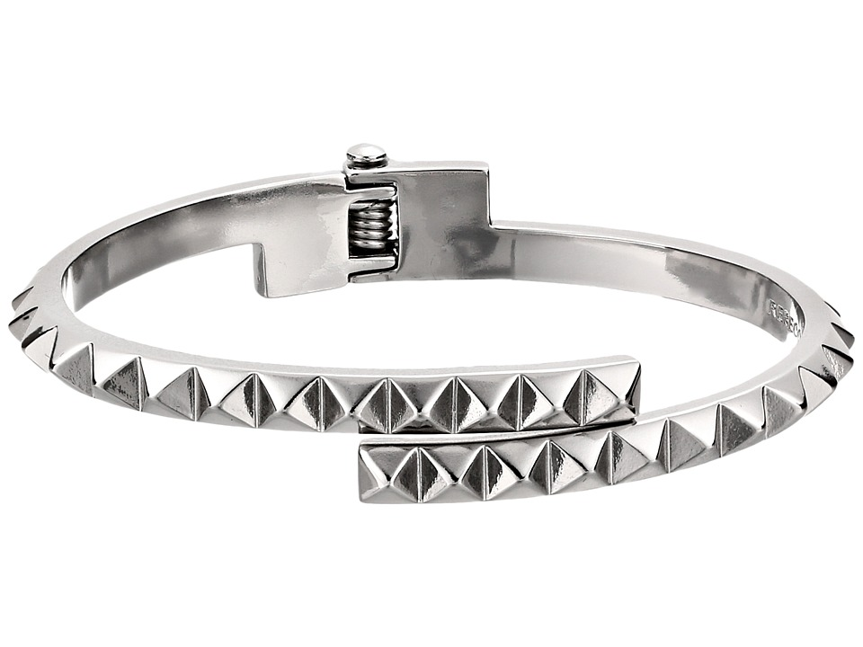 Rebecca Minkoff - Pyramid Hinge Bangle Bracelet (Imitation Rhodium) Bracelet