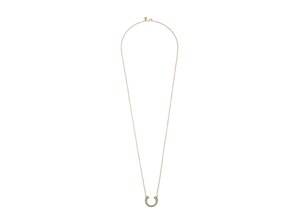 Rebecca Minkoff - Double Tusk Pendant Necklace (Gold Toned/Crystal) Necklace