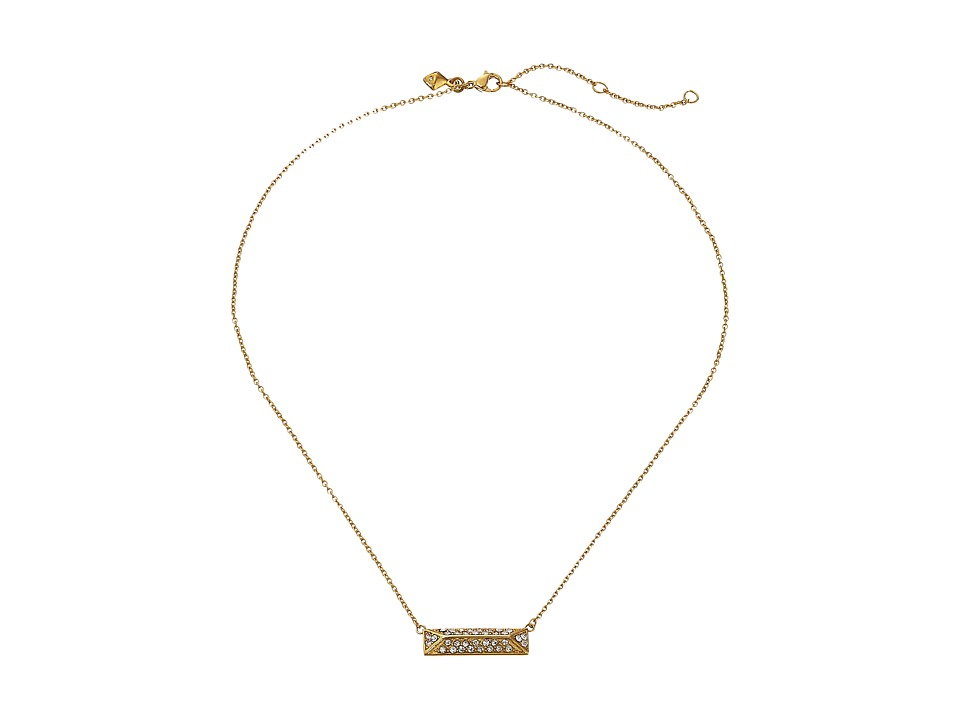 Rebecca Minkoff - Pave Rectangle Pendant Necklace (Gold Toned/Crystal) Necklace