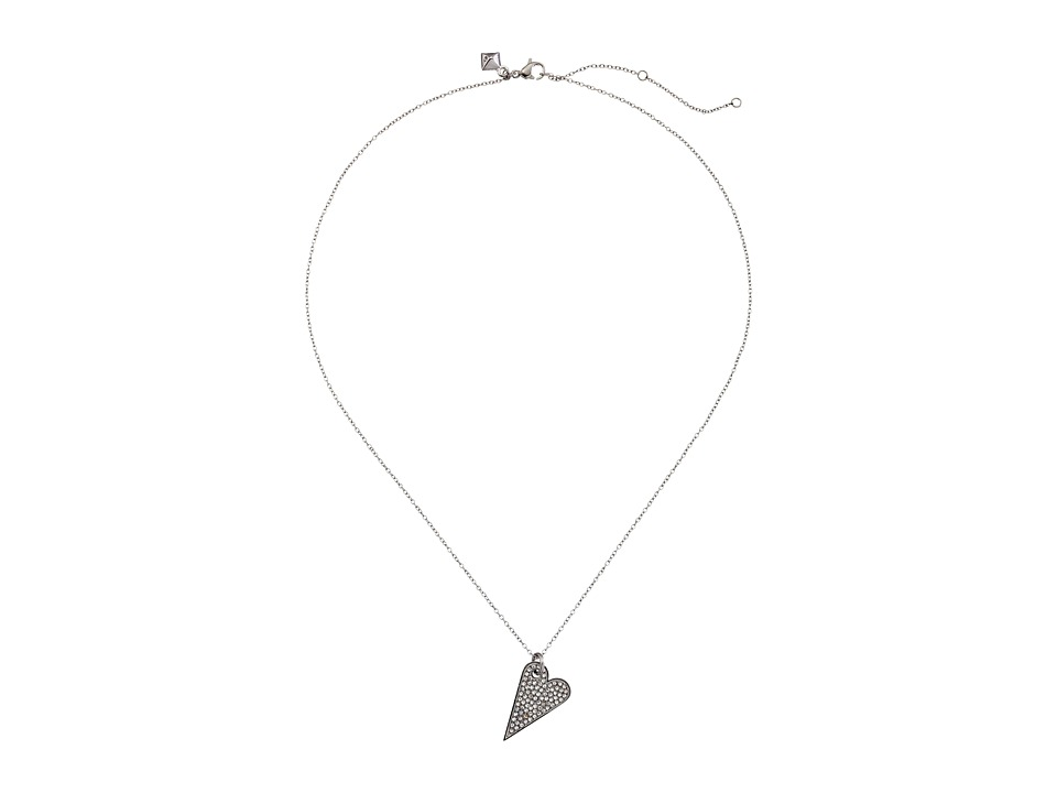 Rebecca Minkoff - Pave Heart Necklace (Imitation Rhodium/Crystal) Necklace