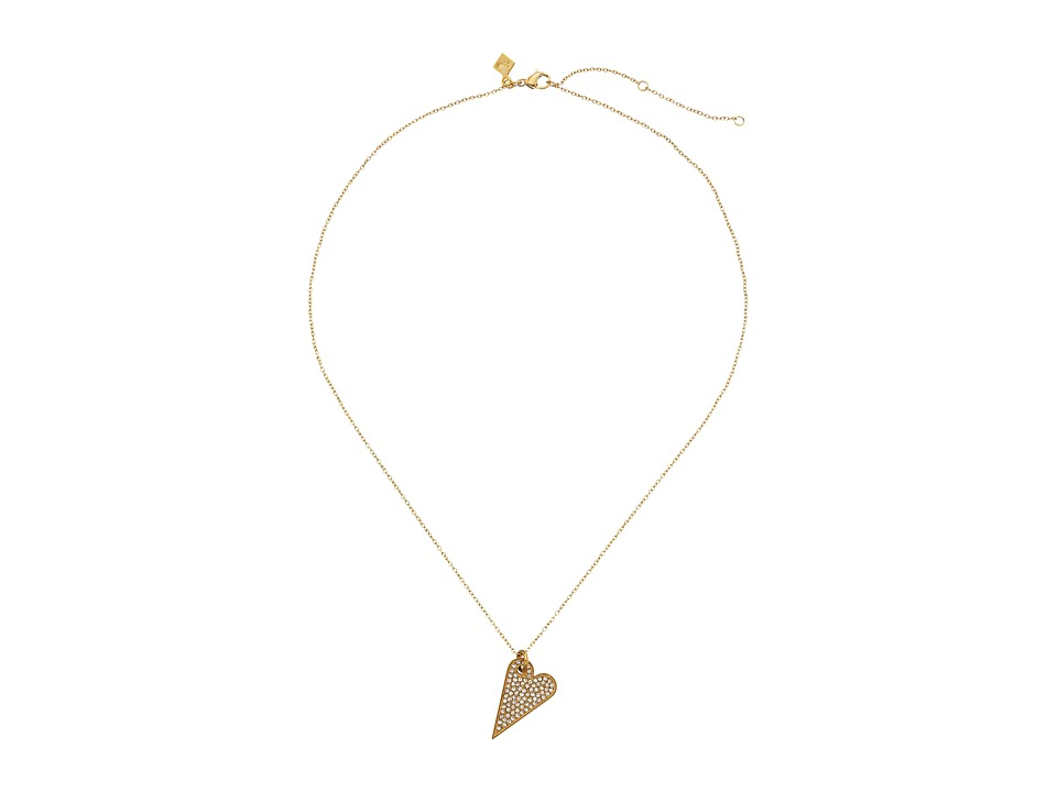 Rebecca Minkoff - Pave Heart Necklace (Gold Toned/Crystal) Necklace