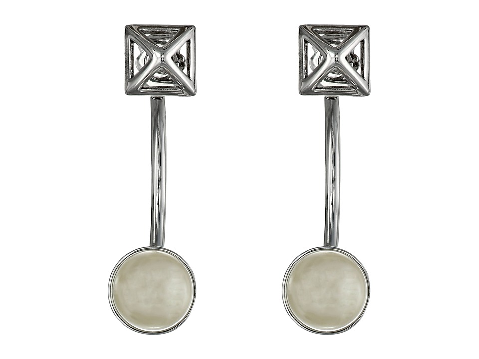 Rebecca Minkoff - Two Part Pyramid Post Earrings (Imitation Rhodium/Pearl) Earring