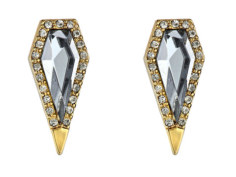 Rebecca Minkoff - Clandestine Blade Post Earrings (Gold Toned/Black Diamond/Crystal) Earring
