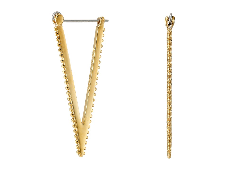 Rebecca Minkoff - Large V Hoop Earrings (Gold Toned) Earring