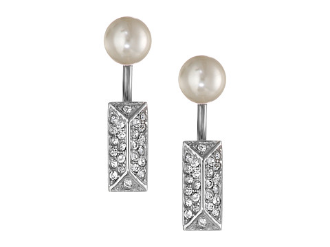 Rebecca Minkoff - Pave/Pearl Two Part Post Earrings (Imitation Rhodium Plate/Crystal) Earring