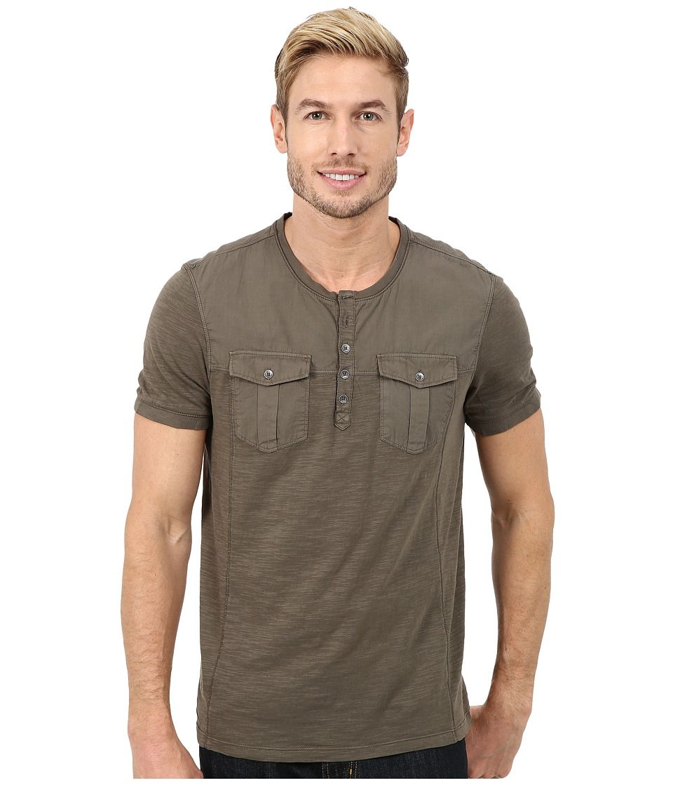 Calvin Klein Jeans - Short Sleeve Henley Mix Media Garment Dye (Mainframe) Men