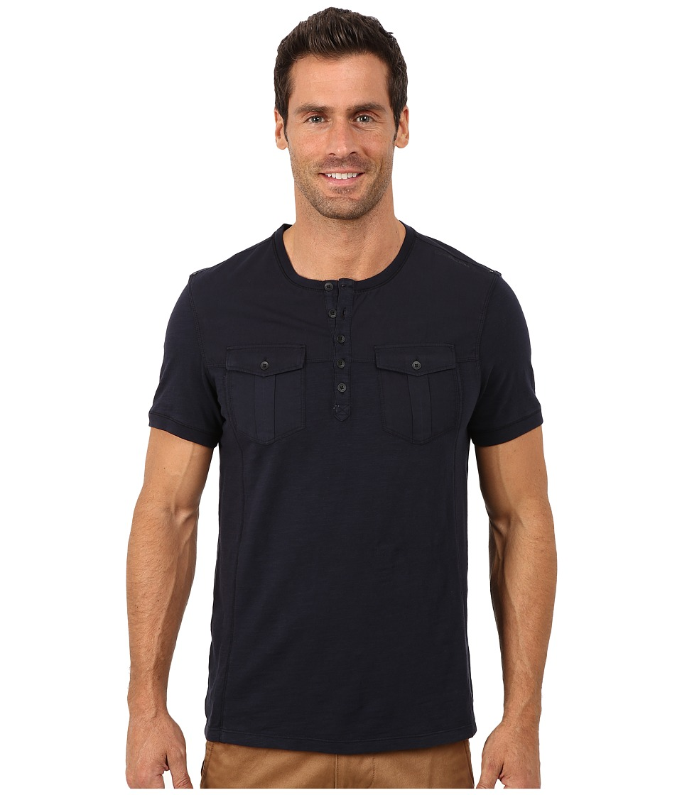 Calvin Klein Jeans - Short Sleeve Henley Mix Media Garment Dye (Navy Armada) Men
