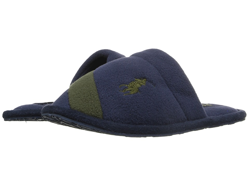 Polo Ralph Lauren Kids - Rugby Crest Scuff (Little Kid) (Navy Fleece/Green) Boy's Shoes