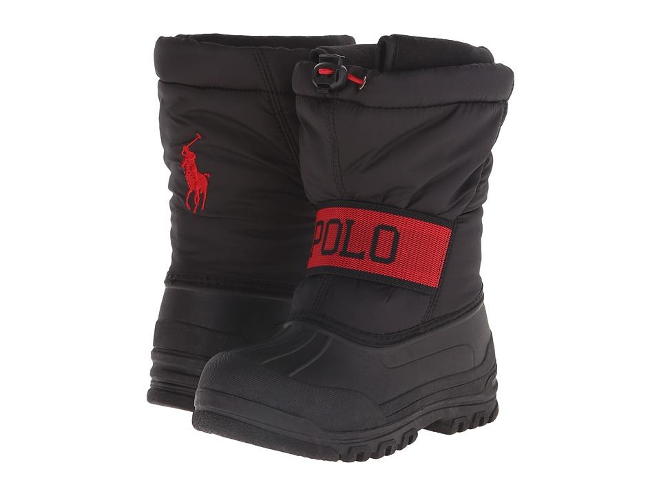 Polo Ralph Lauren Kids - Jakson (Little Kid) (Black Nylon/Red) Boys Shoes