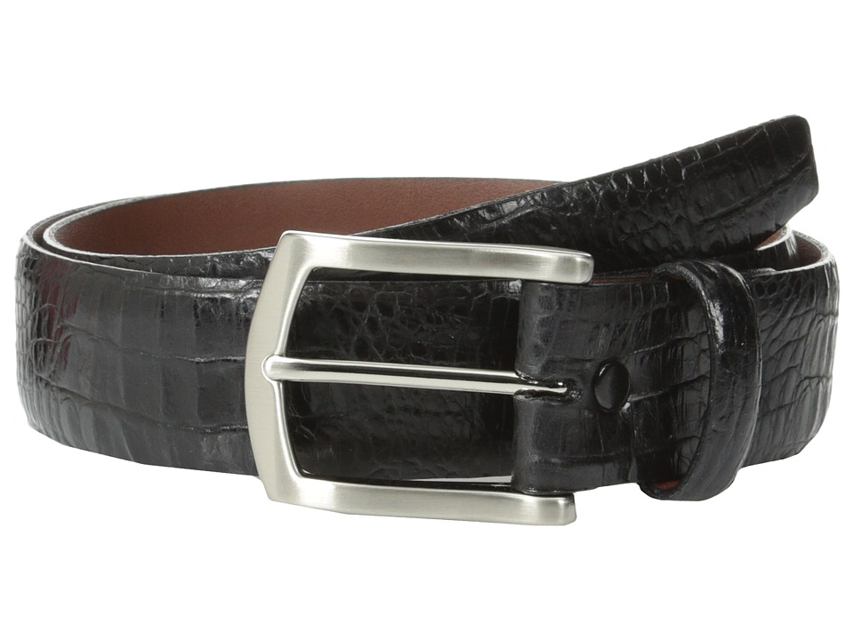 Torino Leather Co. - 35mm Italian Gator Calf w/ Satin Nickel Buckle (Black) Men's Belts
